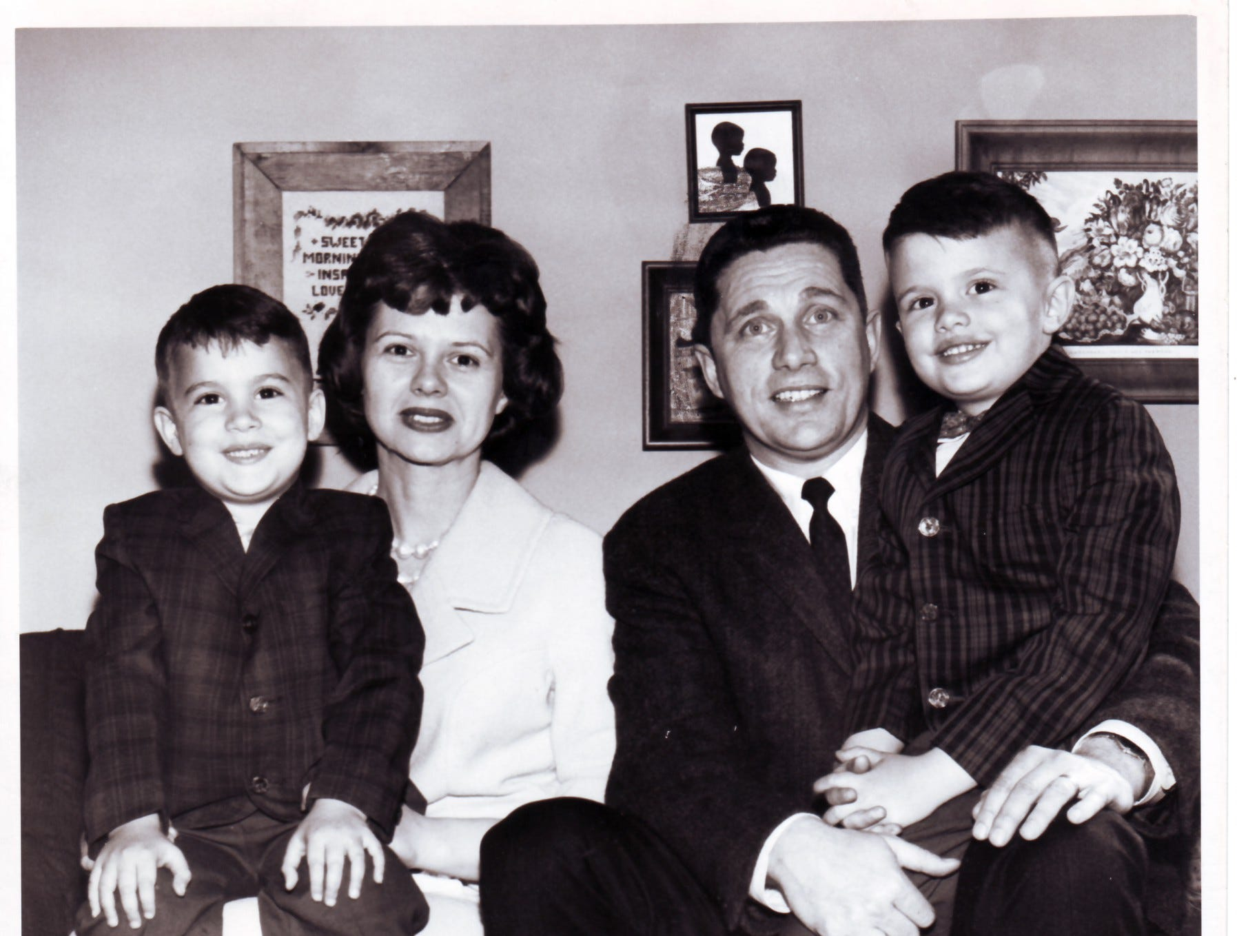 Ray and Dana Mears with their children, Steve, 5, left, and Mike, 4, on April 19, 1962 in Springfield, Ohio. Mears, 35, had just been named head coach at the University of Tennessee after leading Wittenberg University to four Ohio Athletic conference championships. .