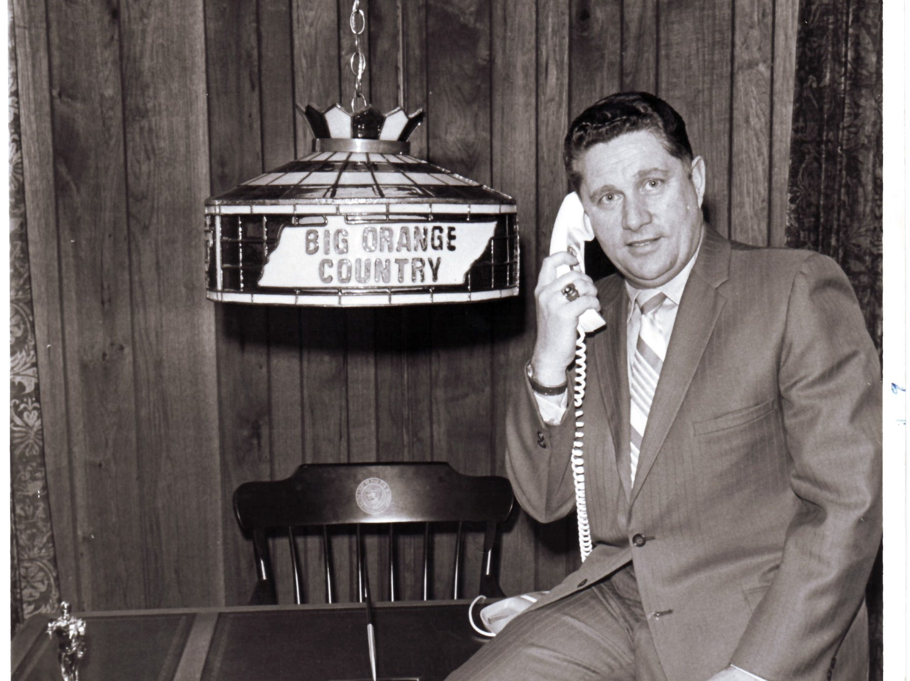 "University of Tennessee basketball Coach Ray Mears is pictured in a photograph dated Feb. 7, 1971. He is credited with coining the phrase ""Big Orange Country"". Mears died at age 80 on June 11, 2007."