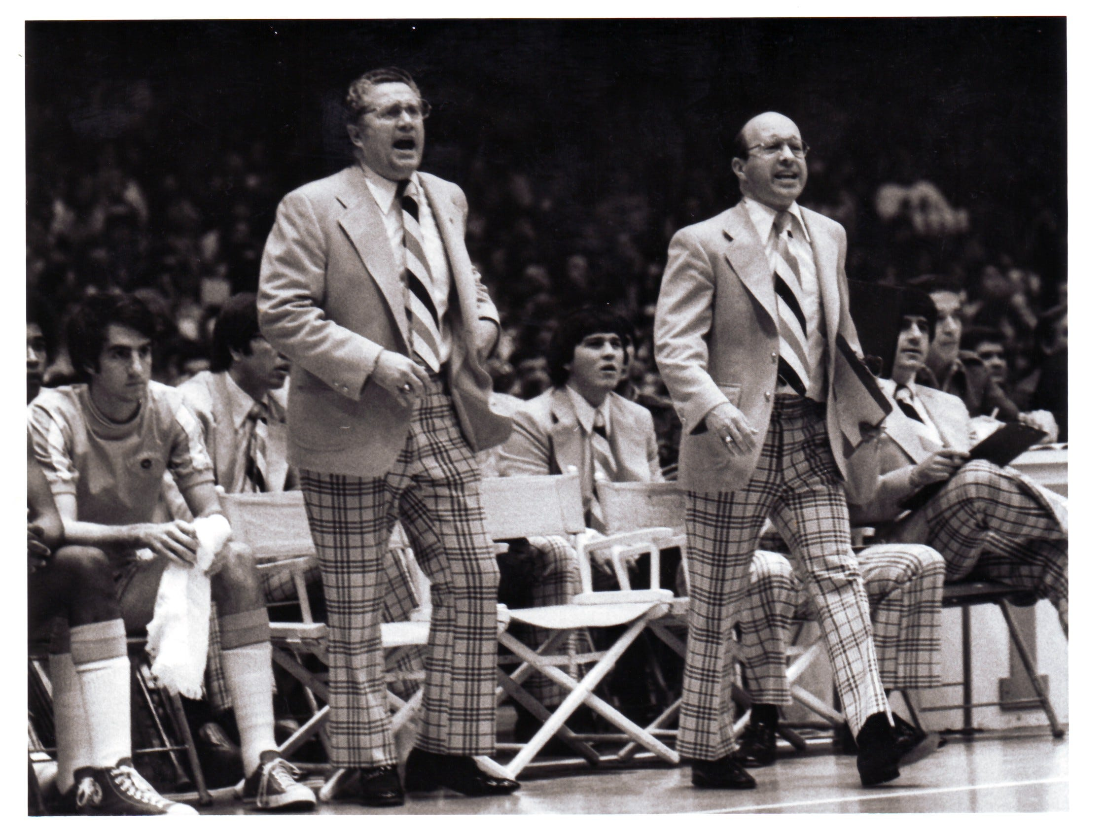 University of Tennessee basketball Coach Ray Mears, left, and Assistant Coach Stu Aberdeen are pictured in a 1976 photograph. Mears died at age 80 on June 11, 2007.