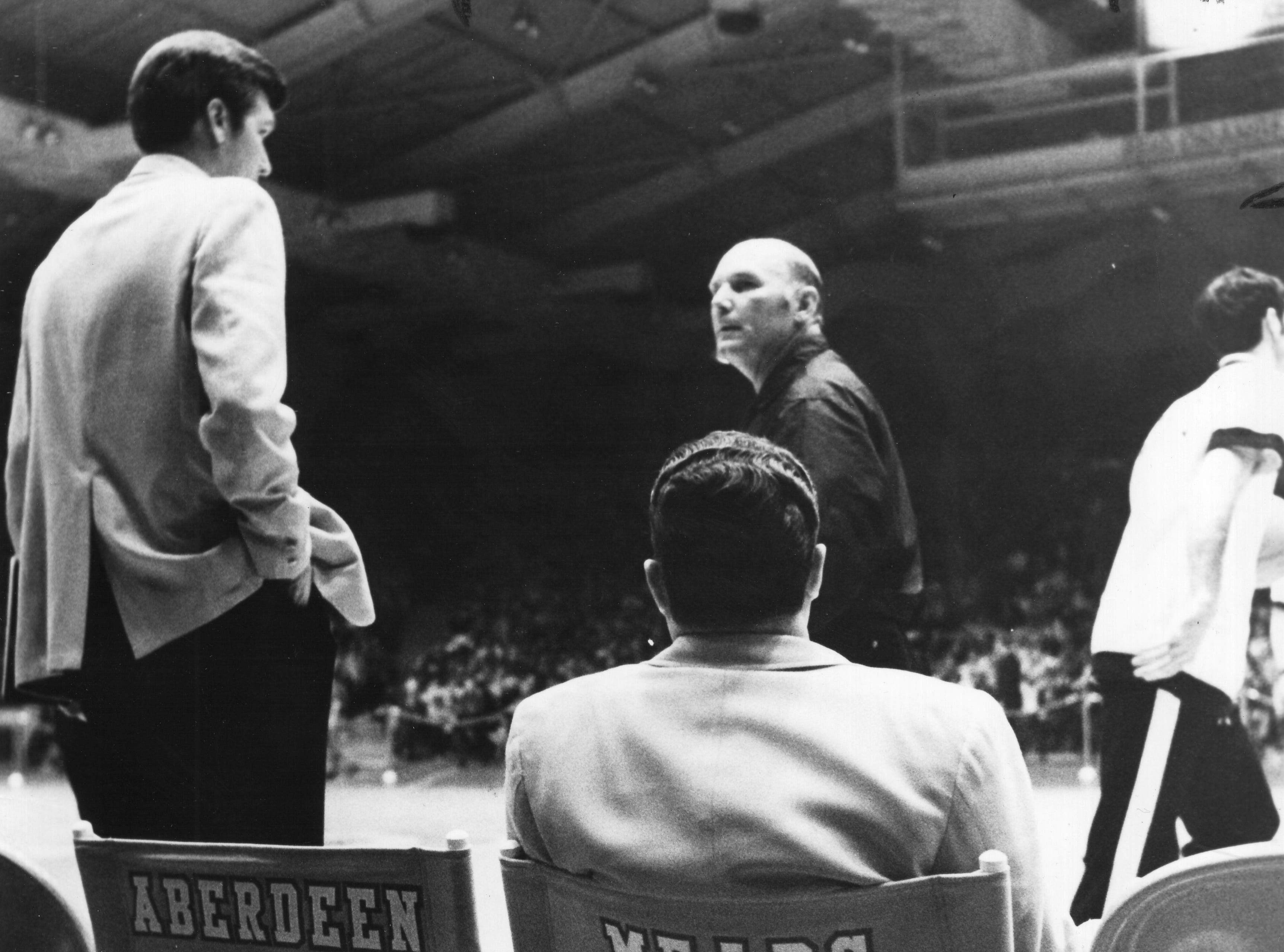 Coach Ray Mears waits during break in a basketball game Dec. 18, 1971, at Stokely Athletic Center.