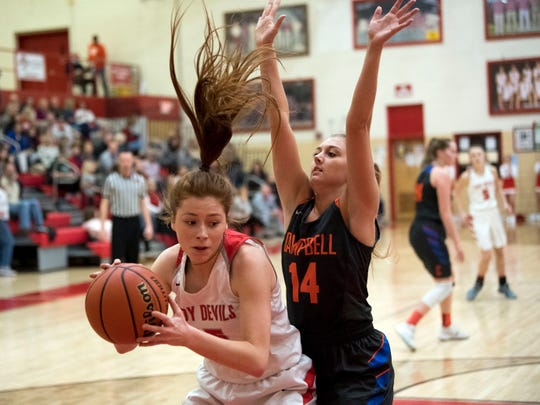 Halls' Cailin Weaver (15) is guarded by Campbell County's Blair Medley (14) on Tuesday, January 22, 2019.