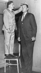 Tom Boerwinkle, UT basketball player, 1963 with Coach Ray Mears.