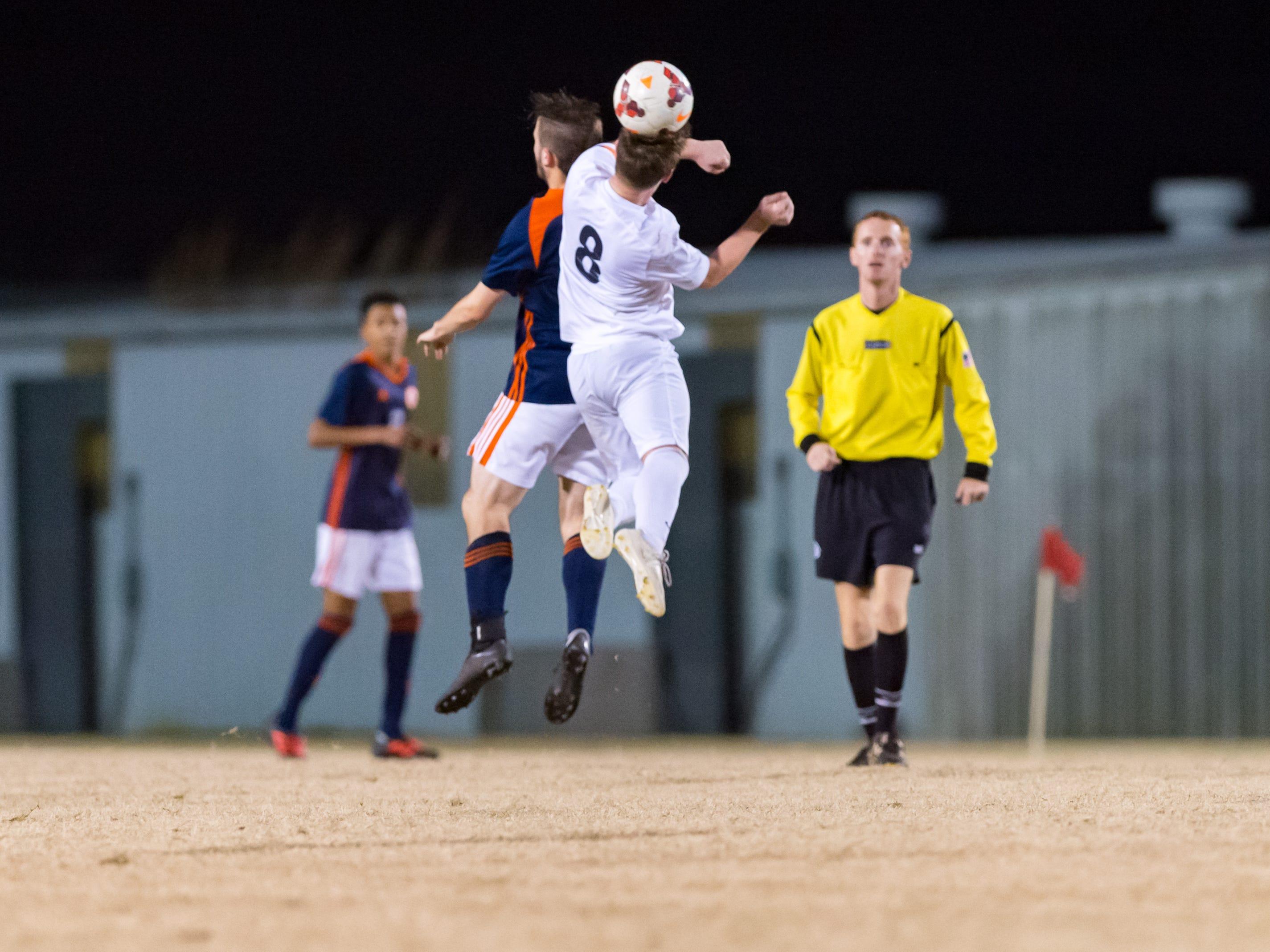 Fischer Gaudet header as Beau Chene takes on STM in Boys soccer. Tuesday, Jan. 22, 2019.