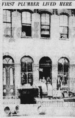 "This early, undated photo appeared in the E-G on June 3, 1940. The captions read: ""First plumber lived here,"" and ""This very old photograph shows the home of A. G. Miller, Lancaster's first plumber, at 208 West Main St."""