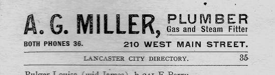 A. G. Miller placed this ad in the 1902-03 Lancaster City Directory.