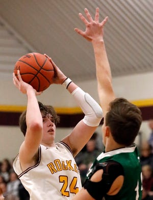 Berne Union sophomore Brock Unger, shoots the ball in an earlier game this season, scored 26 points to help lead the Rockets to a 59-44 win over Danville in a Division IV second-roundup tournament game.