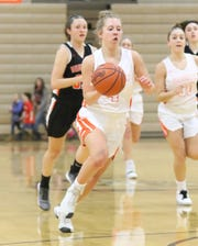 Brighton's Bella Vogt brings the ball up the court after a steal in a 53-23 victory over Northville on Tuesday, Jan. 22, 2019.