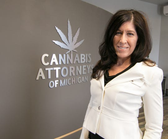 Attorney Denise Pollicella, a managing partner of Cannabis Attorneys of Michigan, at her Genoa Township office Wednesday, Jan. 23, 2019.