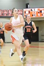 Brighton's Lauren Brown drives to the basket for two points in a 53-23 victory over Northville on Tuesday, Jan. 22, 2019.