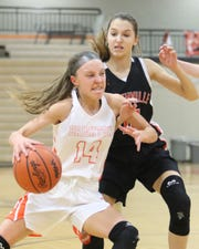 Kylie Seiter drives to the hoop past Northville's Avery Tolstyka in a 53-23 victory on Tuesday, Jan. 22, 2019.
