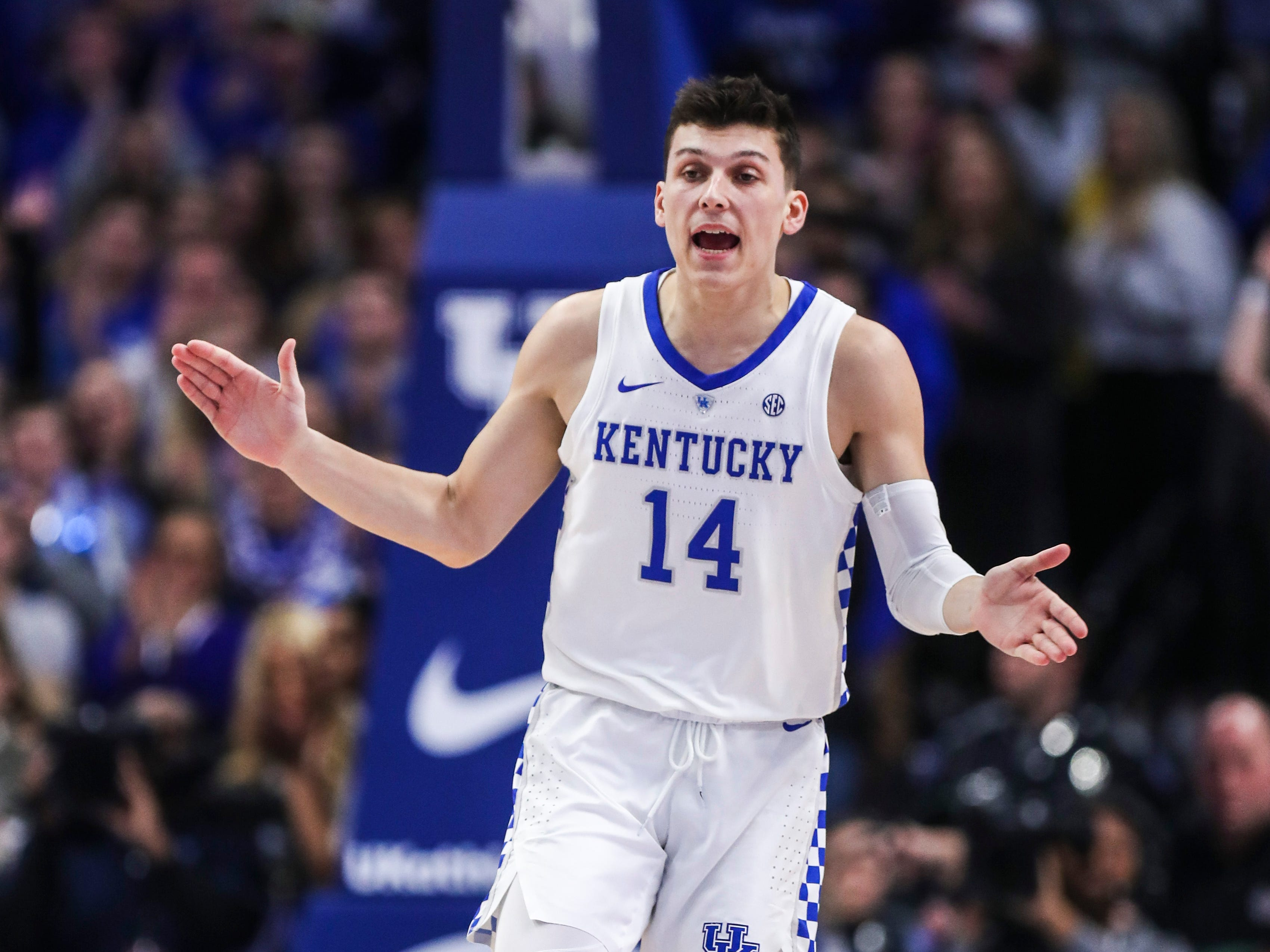 Kentucky's Tyler Herro celebrates after hitting a three-point shot against Mississippi State Tuesday night at Rupp Arena in Lexington. January 22, 2019
