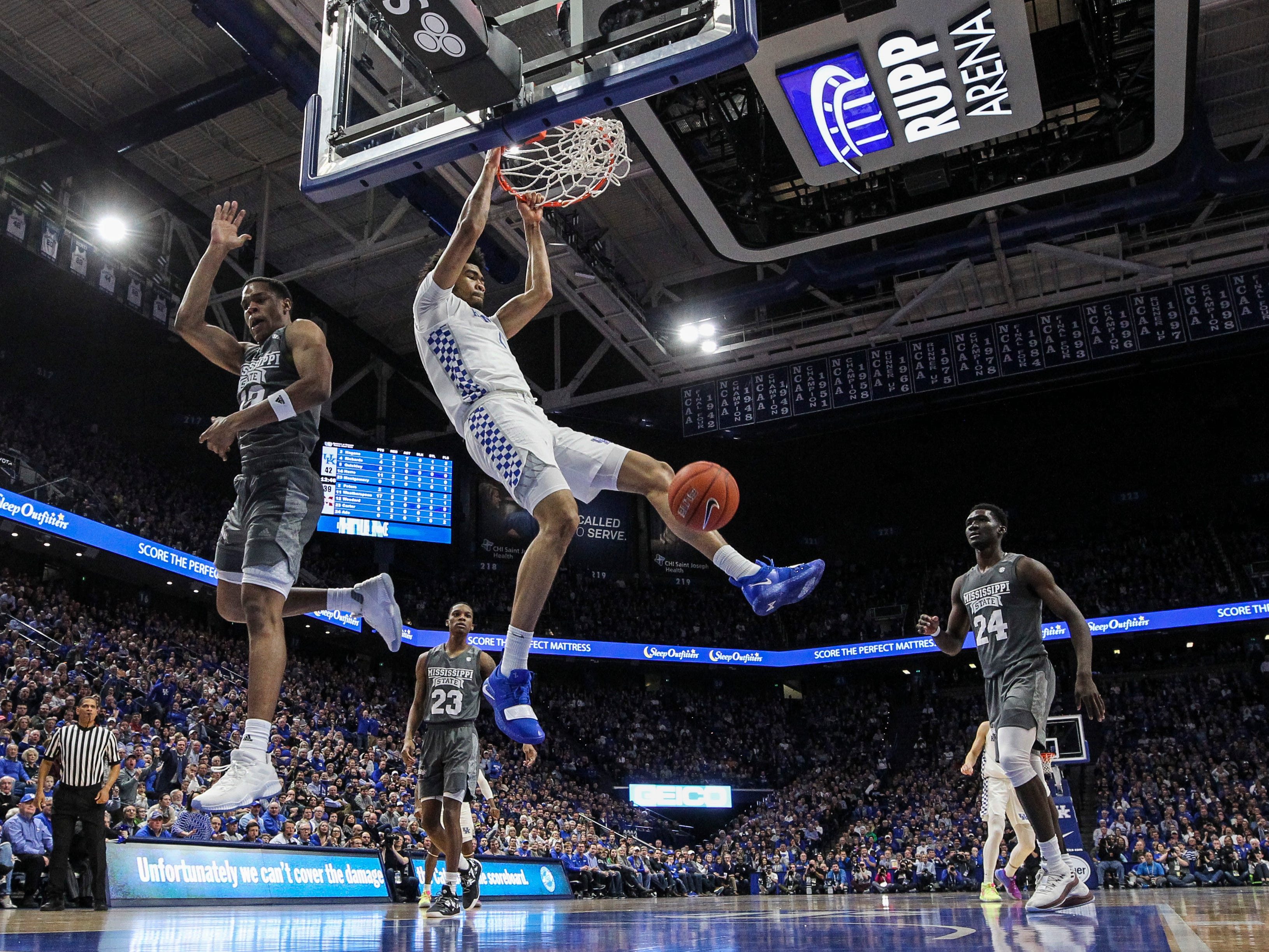 Kentucky's Nick Richards slams down two against Mississippi State Tuesday night at Rupp Arena in Lexington. January 22, 2019