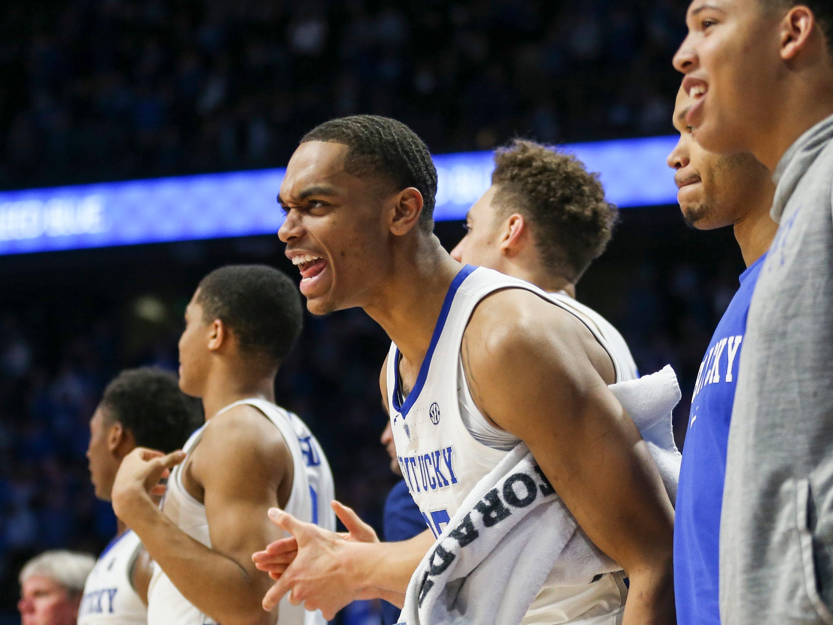 Kentucky's PJ Washington Jr cheered from the bench late in the second half. Washington Jr led the Wildcats with 21 points and six rebounds with four blocks against Mississippi State Tuesday night at Rupp Arena in Lexington. The Wildcats won 76-55.