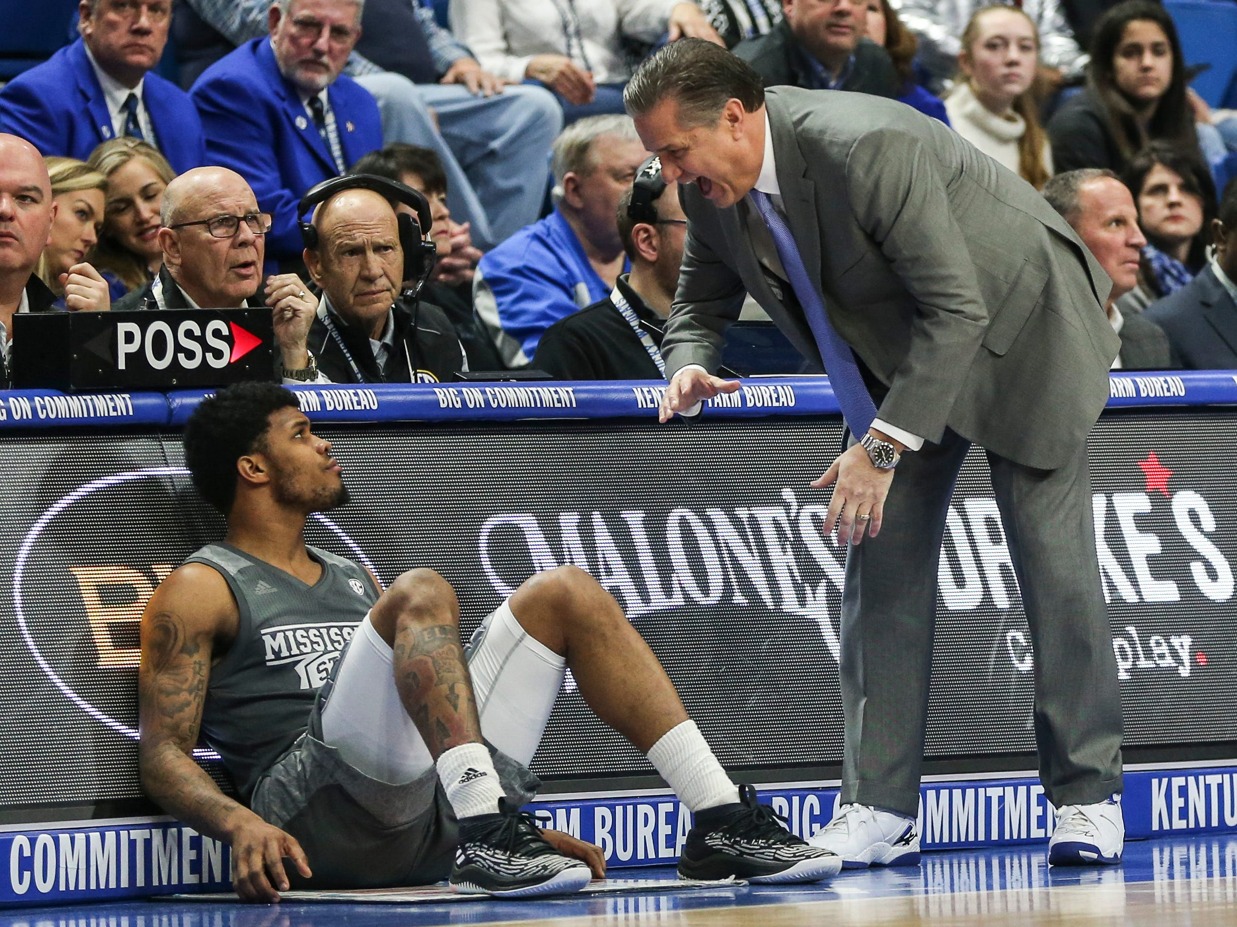 Kentucky coach John Calipari wearing a pair of Drake shoes against Mississippi State Tuesday night at Rupp Arena in Lexington. January 22, 2019