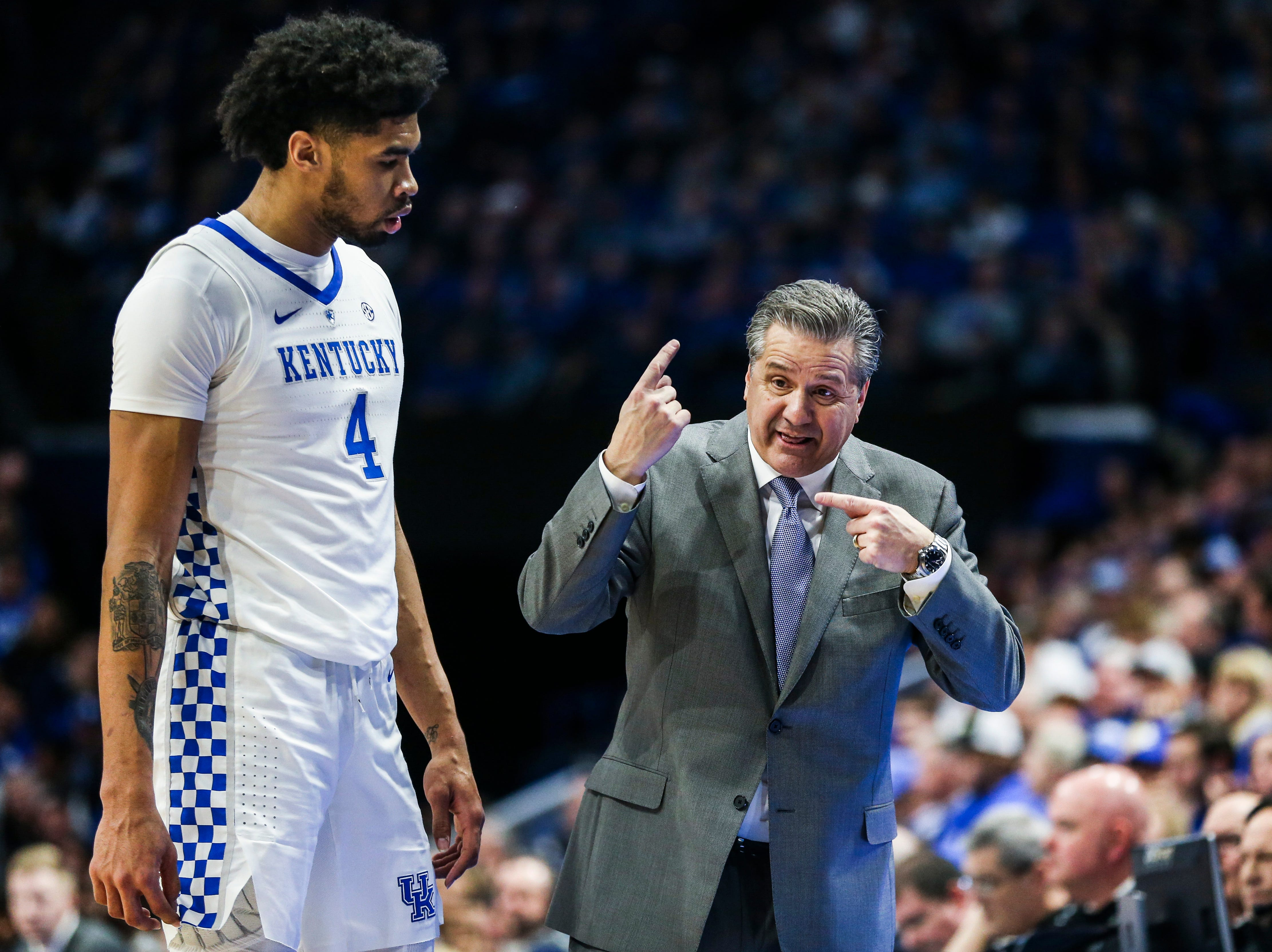 Kentucky's John Calipari tries to get a point across to Nick Richards during the game against Mississippi State Tuesday night at Rupp Arena in Lexington. Richards finished with eight points and six rebounds as the Wildcats won 76-55.