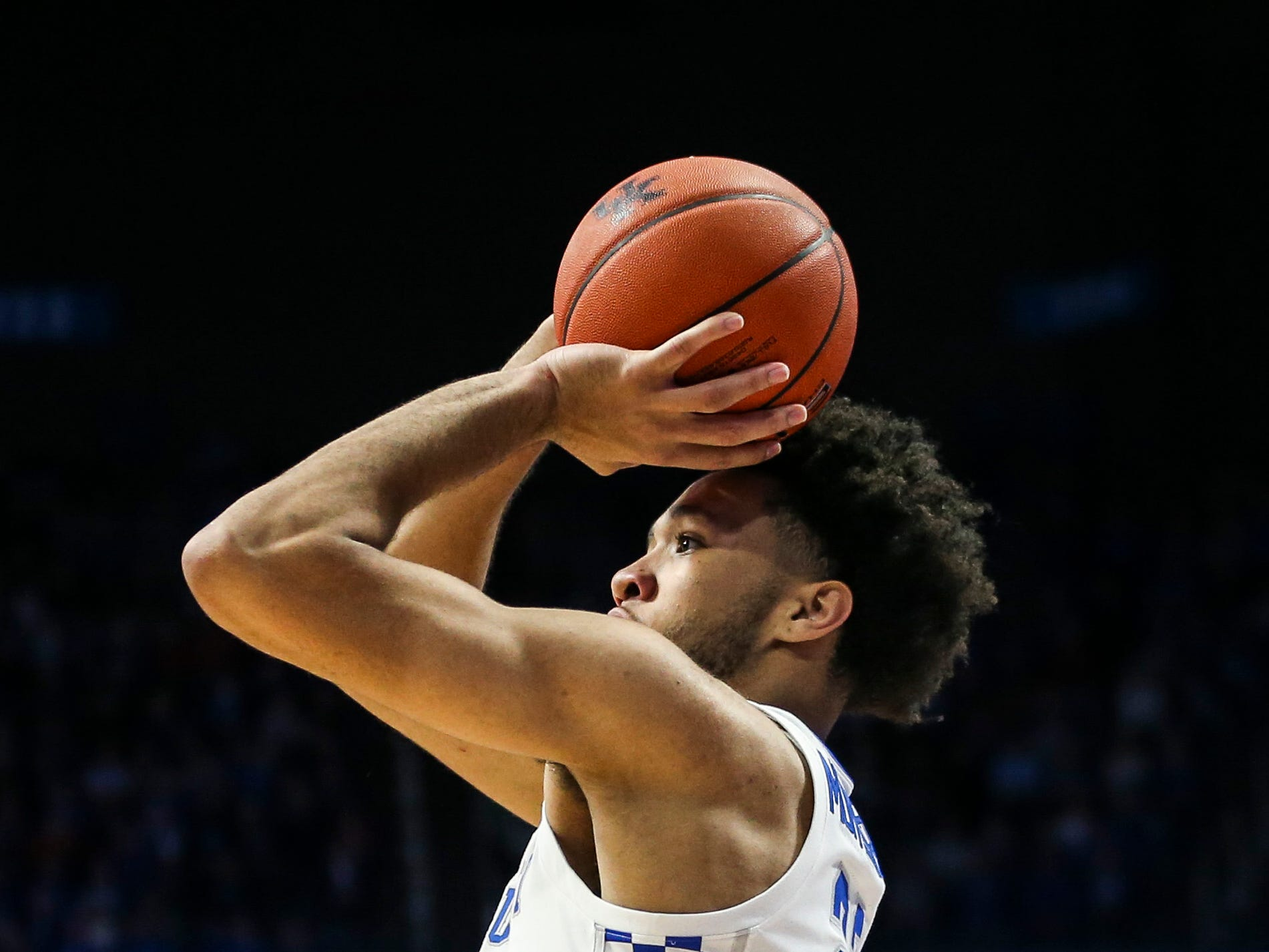 Kentucky's EJ Montgomery hit this three-point shot in the second half against Mississippi State, earning praise from coach John Calipari after the game Tuesday night at Rupp Arena in Lexington. The Wildcats won 76-55.
