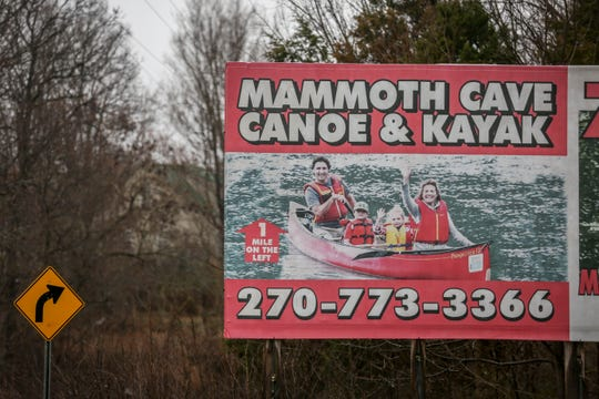 Canadian Prime Minister Justin Trudeau and his family appear on a billboard advertising for Mammoth Cave Canoe & Kayak in Kentucky.