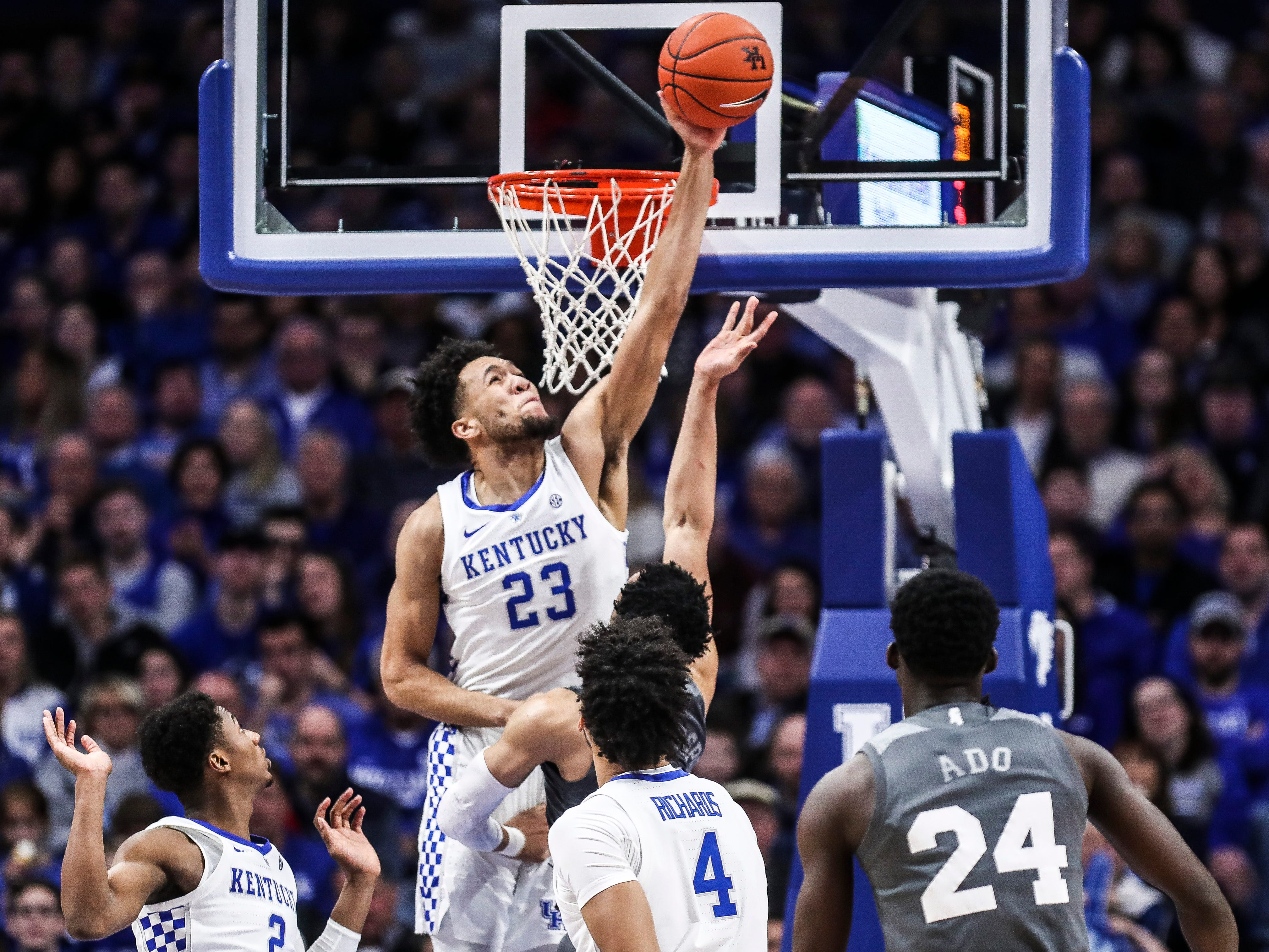 "Kentucky's EJ Montgomery had this block that according to coach John Calipari ""changed the game"" in the Wildcats' 76-55 win Tuesday night at Rupp Arena in Lexington. He finished with five points, including a three-point shot which garnered praise from coach John Calipari."