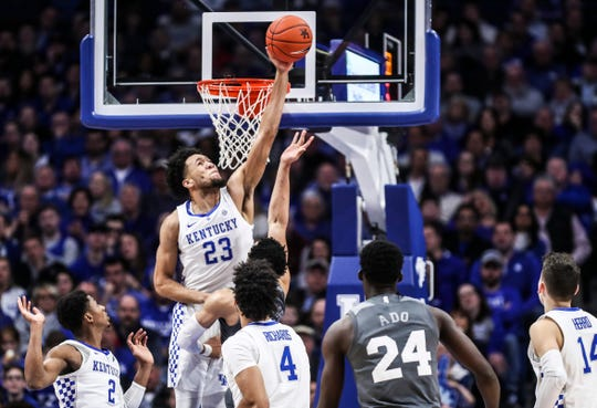 """EJ Montgomery shows some serious hangtime as he blocks a shot in a move that """"changed the game,"""" according to John Calipari."""