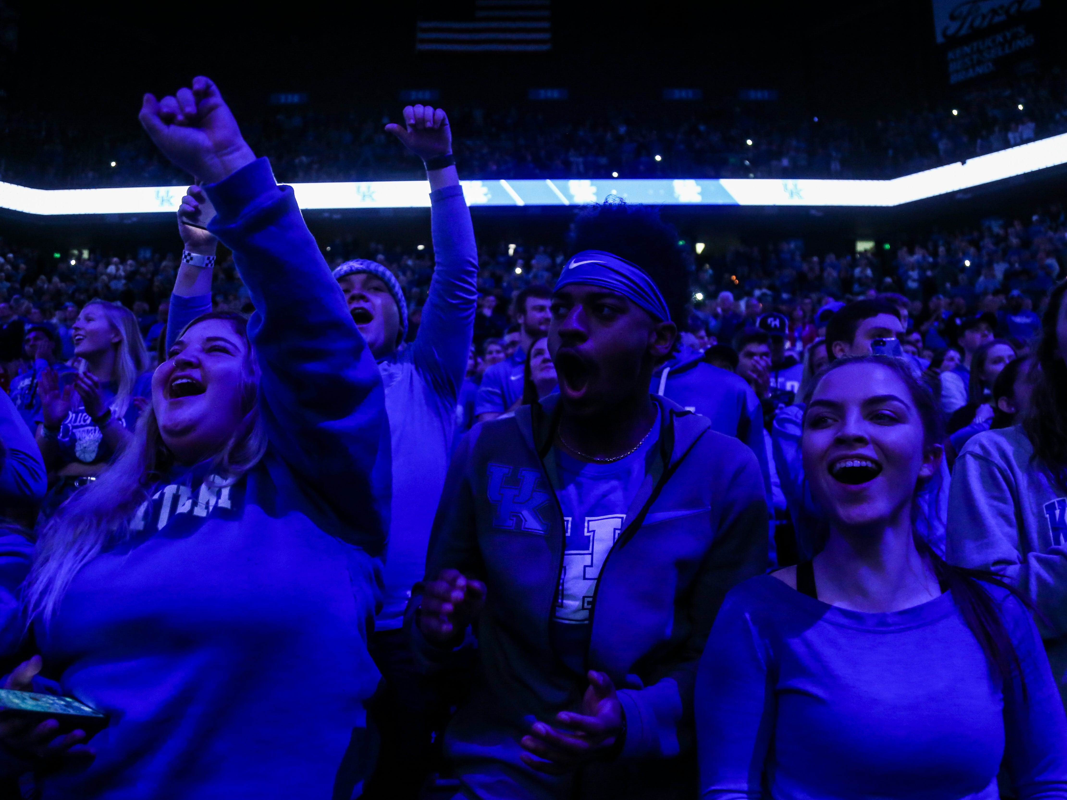 Kentucky students cheer before the game against Mississippi State Tuesday night at Rupp Arena in Lexington. January 22, 2019