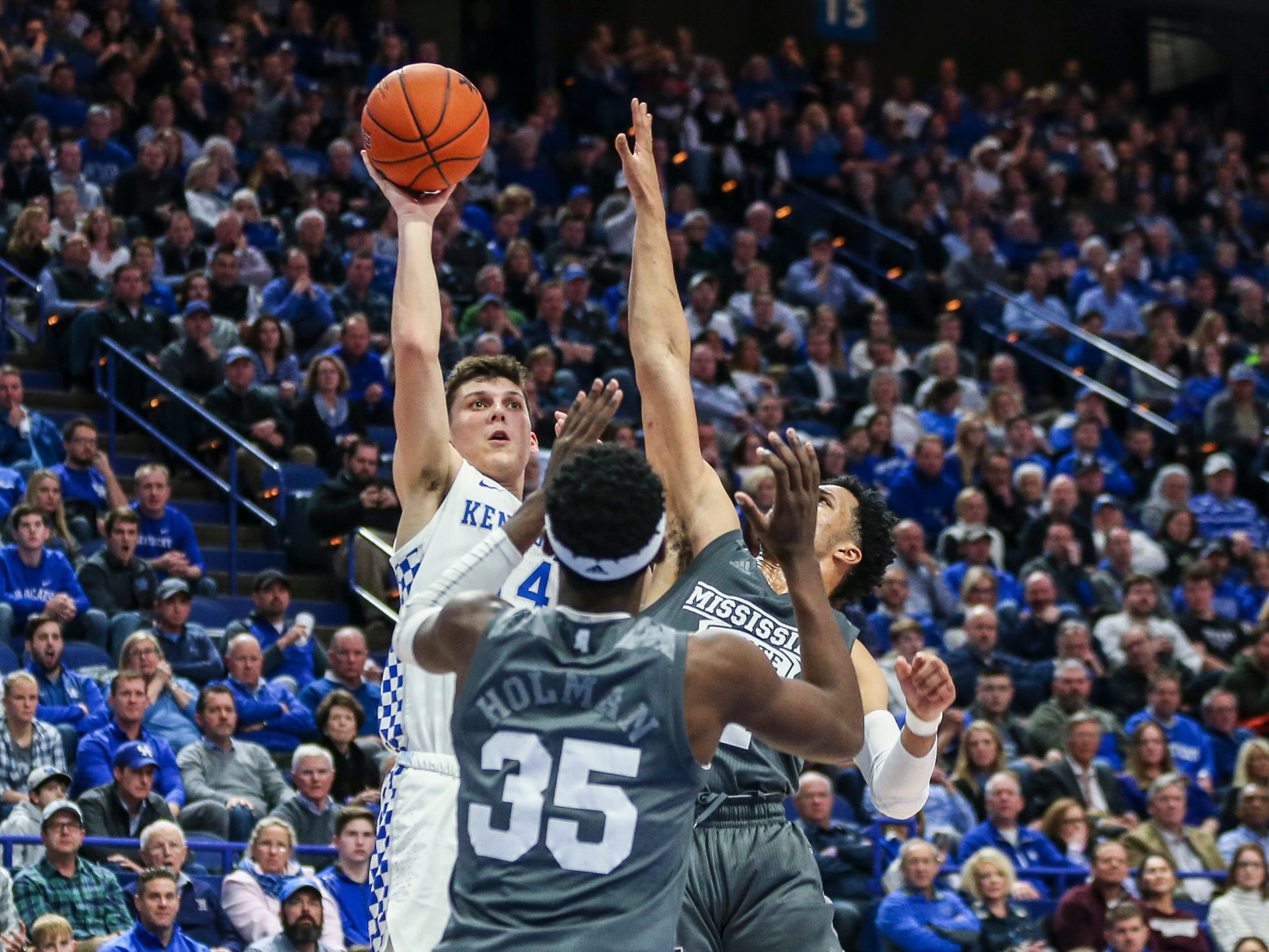 Kentucky's Tyler Herro shoots over Mississippi State during the Wildcats' 76-55 win Tuesday night at Rupp Arena in Lexington. Herro finished with 18 points and three-for-three in three-point shots.