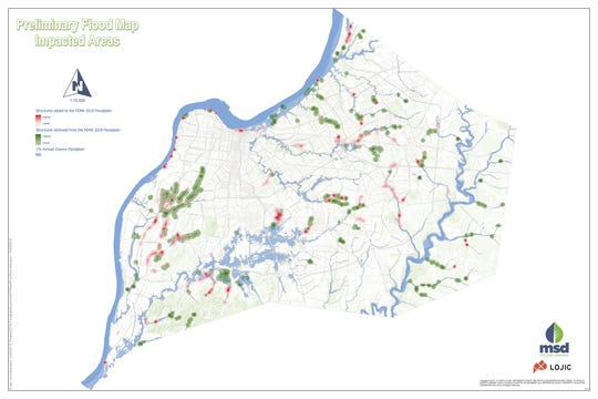 This preliminary map of new FEMA floodplains in Jefferson County shows properties (shaded red) which were newly added to flood zones and properties (shaded green) that were removed from flood zones.