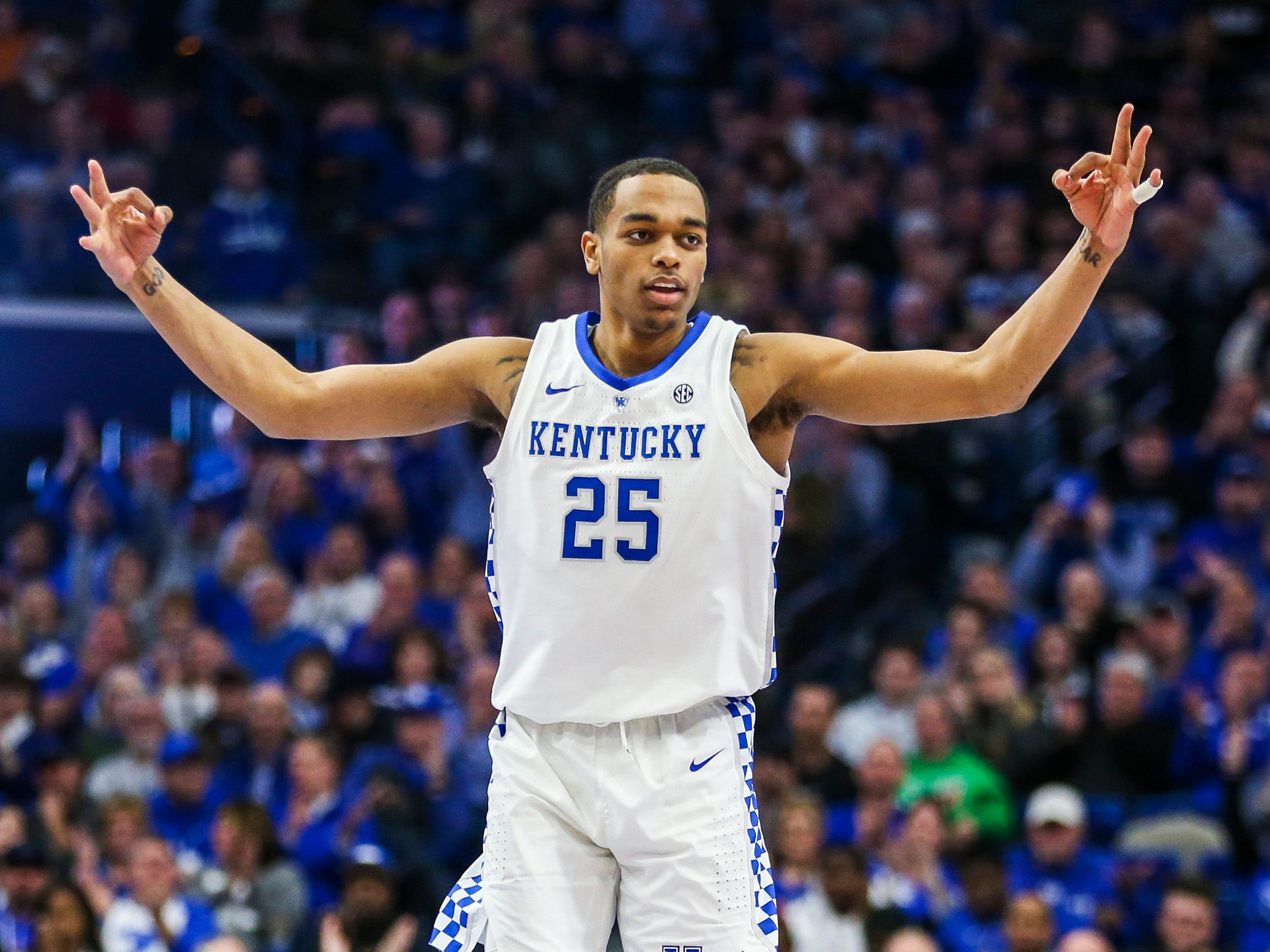 Kentucky's PJ Washington Jr signaled three as he led the Wildcats with 21 points and six rebounds with four blocks against Mississippi State Tuesday night at Rupp Arena in Lexington. The Wildcats won 76-55, their first consecutive wins over ranked teams since 2011. January 22, 2019
