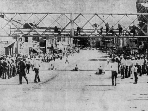 Several thousand spectators turned out for the final heat of the 1971 Clinton County Soap Box Derby.