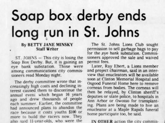 This 1977 article discusses the end of the Clinton County Soap Box Derby.