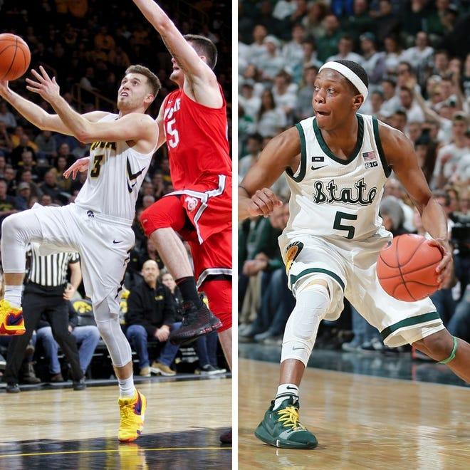 From left: Iowa's Jordan Bohannon and Michigan State's Cassius Winston.