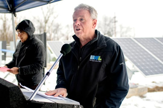 Lansing BWL General Manager Dick Peffley speaks during a celebration of the opening of the East Lansing Solar Park on Wednesday, Jan. 23, 2019, at Burcham Park in East Lansing. The park, which became operational on December 28, 2018, has 1,000 solar panels that will produce enough to power around 60 homes.