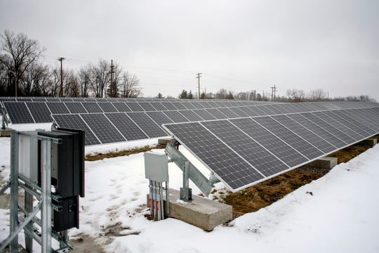 Some of the solar panels photographed at the East Lansing Solar Park on Wednesday, Jan. 23, 2019, at Burcham Park in East Lansing. The park, which became operational on December 28, 2018, has 1,000 solar panels that will produce enough to power around 60 homes.