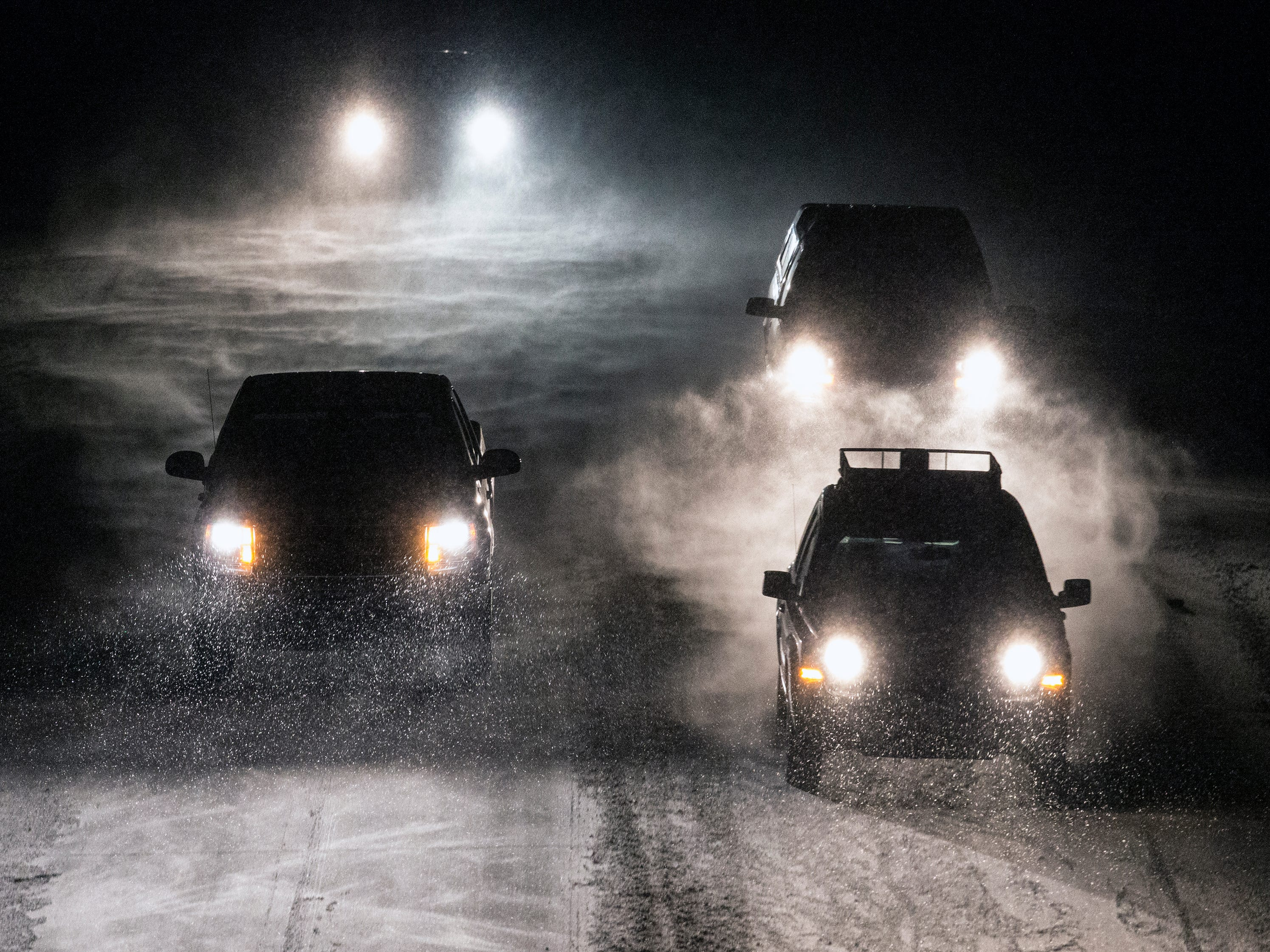 Cars travel south on I-43 as the first major snowstorm of winter starts to hit the area Tuesday, January 22, 2019, in Manitowoc, Wis. An accumulation of 5-7 inches is possible with some parts of Wisconsin predicted to get as much as 10 inches according to the National Weather Service. Joshua Clark/USA TODAY NETWORK-Wisconsin