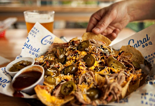BBQ Nachos at Central BBQ. Choose from pulled pork, pulled chicken, brisket or sliced turkey as the topping.
