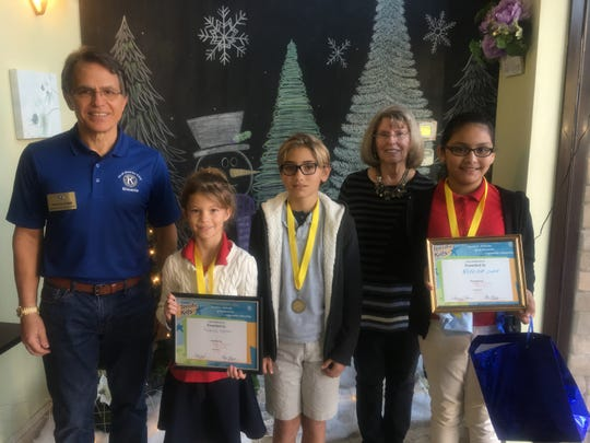 At the Jan. 17 Kiwanis Club of Marco Island meeting members were pleased to welcome and honor Terrific Kids  from Tommie Barfield 4th grade, Kate Anderson, Jacob Lebowitz and Nereida Lara. From left, President Preston Stiner, Kate Anderson, Jacob Lebowitz, Jude Dunn (Terrific Kids liaison) and Nereida Lara.