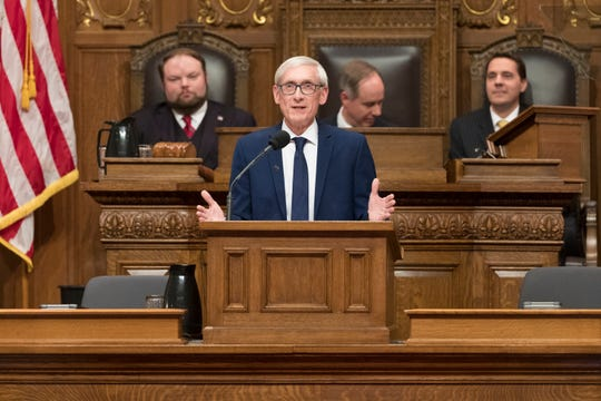 Gov. Tony Evers delivers his State of the State address at the Capitol in Madison in January.