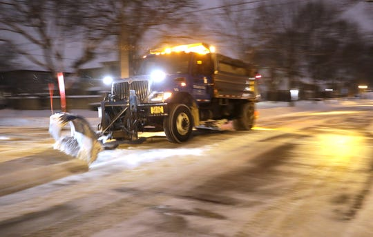 A Whitefish Bay snow plow clears Bay Ridge Avenue on Jan. 23. This year's winter may seem intense, but the village's salt usage and plow operations so far have been normal compared to other years.