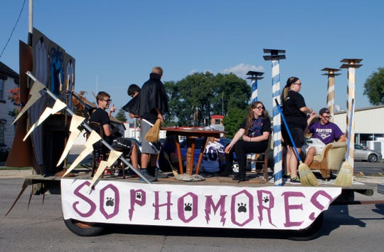 Palmyra-Eagle High School sophomores show their homecoming spirit with a Harry Potter-themed float during the 2014 homecoming parade. The Palmyra-Eagle Area School District will be presenting a four-year, $11.5 million nonrecurring operational referendum to voters April 2. District officials have said the referendum is needed to keep the district from dissolving.