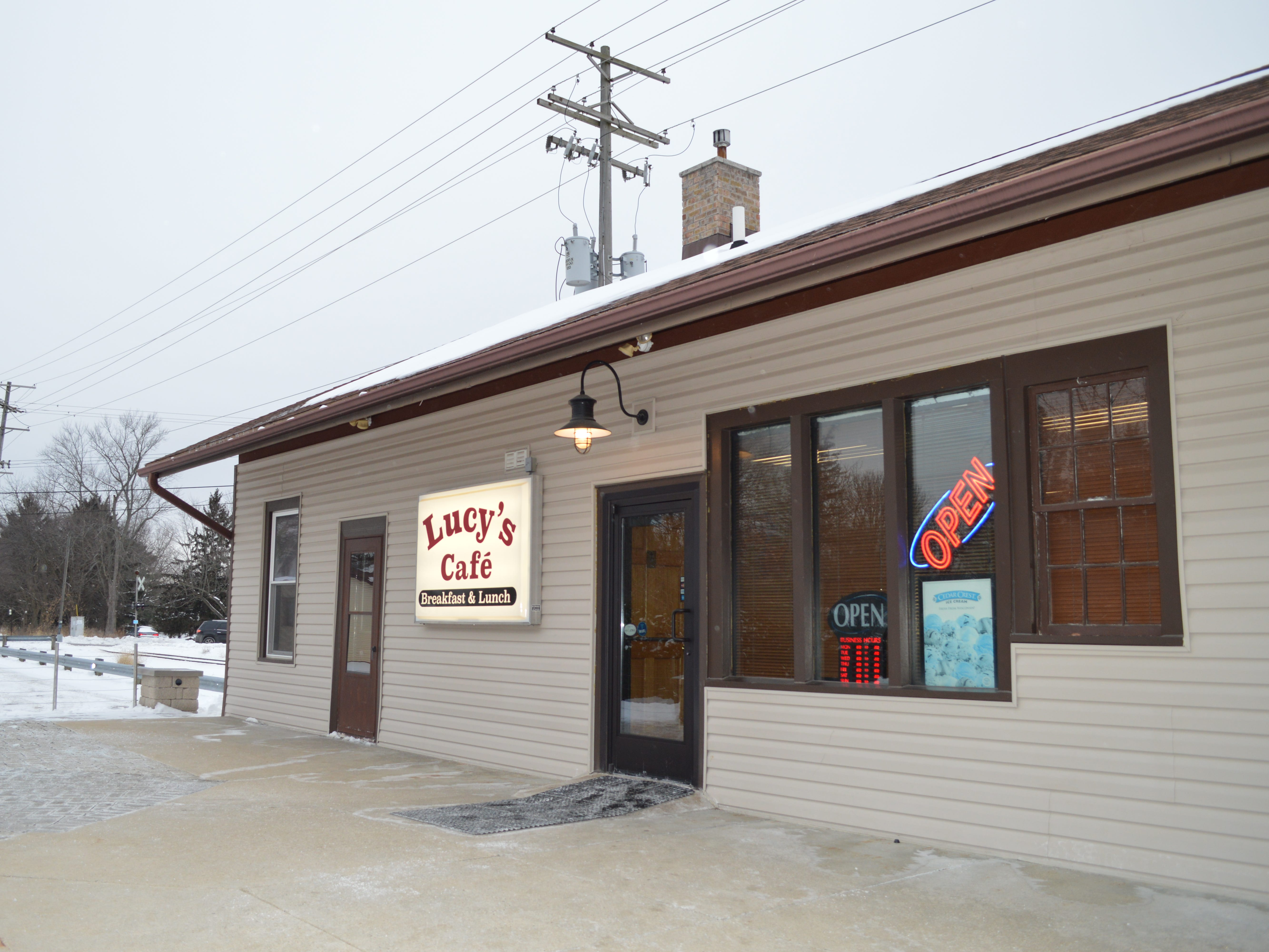 Lucy's Cafe is located at 132 N. Main St., North Prairie.