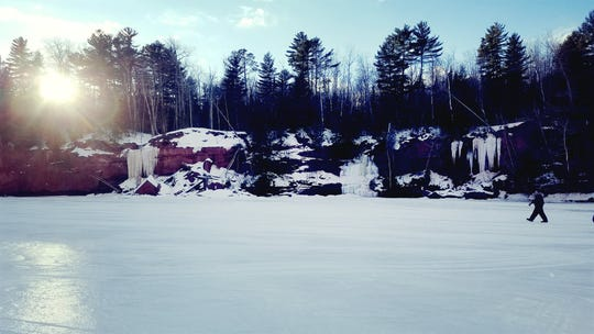 The ice caves along the east side of the Bayfield peninsula near Red Cliff are accessible via a tour with Rustic Makwa Den.