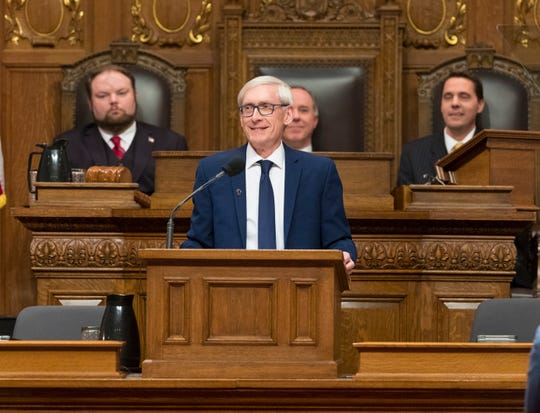 Gov. Tony Evers delivering his State of the State address at the Capitol in Madison.