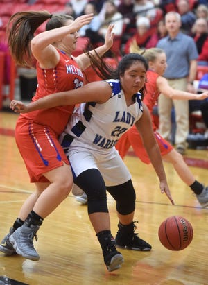Cotter's Samantha Sanchez dribbles to the hoop during a game earlier this season. Sanchez scored 36 points in a victory over Haas Hall Academy on Tuesday night.
