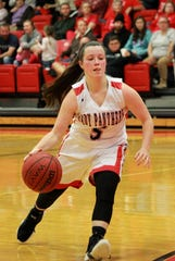 Norfork's Mesa Beavers brings the ball upcourt during the Lady Panthers' 71-25 win over Calico Rock on Tuesday night.