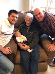 Four generations of the Marvin Faye Martin family are shown in this photo. Martin is a life-long resident of Mountain Home. Pictured are: (from left) grandson Kyle Martin and daughter, Violette Genevieve Martin, of Olathe, Kansas; Marvin Martin; and son, Mark Martin, of Harrison.