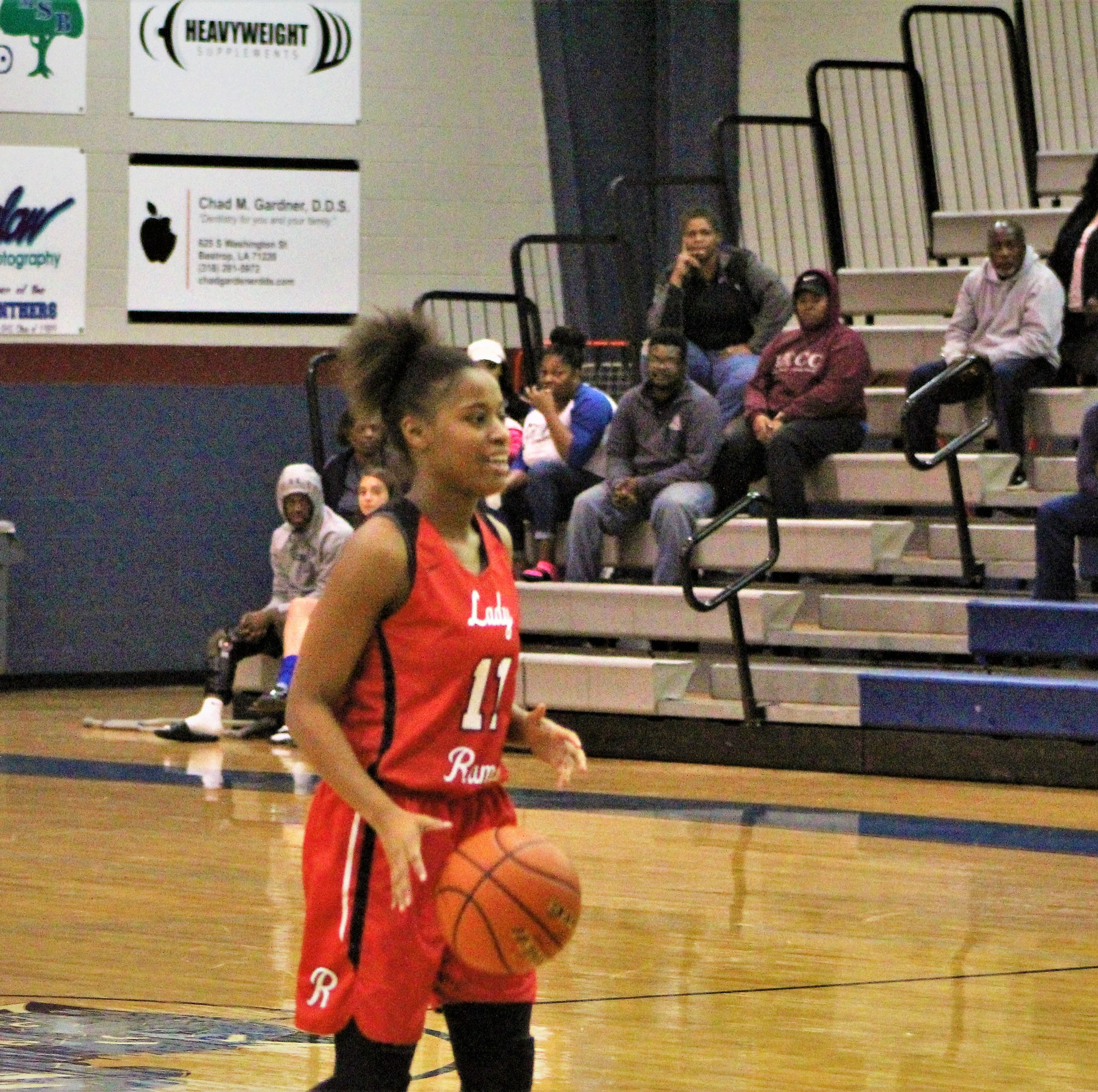 Richwood's Shantal Sidney (11) brings the ball up the court in Richwood's 74-59 District 2-3A win over the Sterlington Lady Panthers at Sterlington High School on Tuesday.