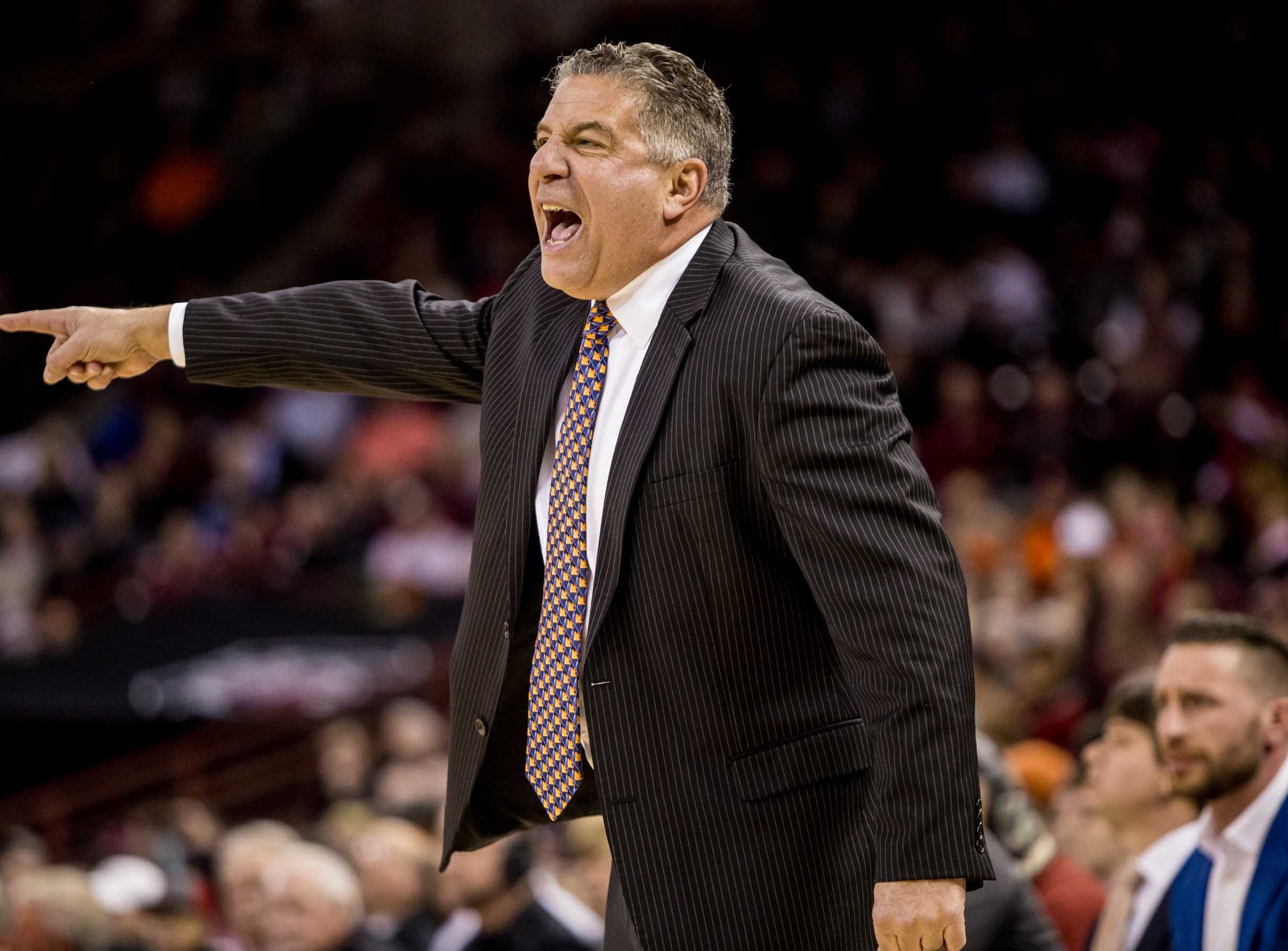 Jan 22, 2019; Columbia, SC, USA; Auburn Tigers head coach Bruce Pearl directs his team against the South Carolina Gamecocks in the first half at Colonial Life Arena. Mandatory Credit: Jeff Blake-USA TODAY Sports