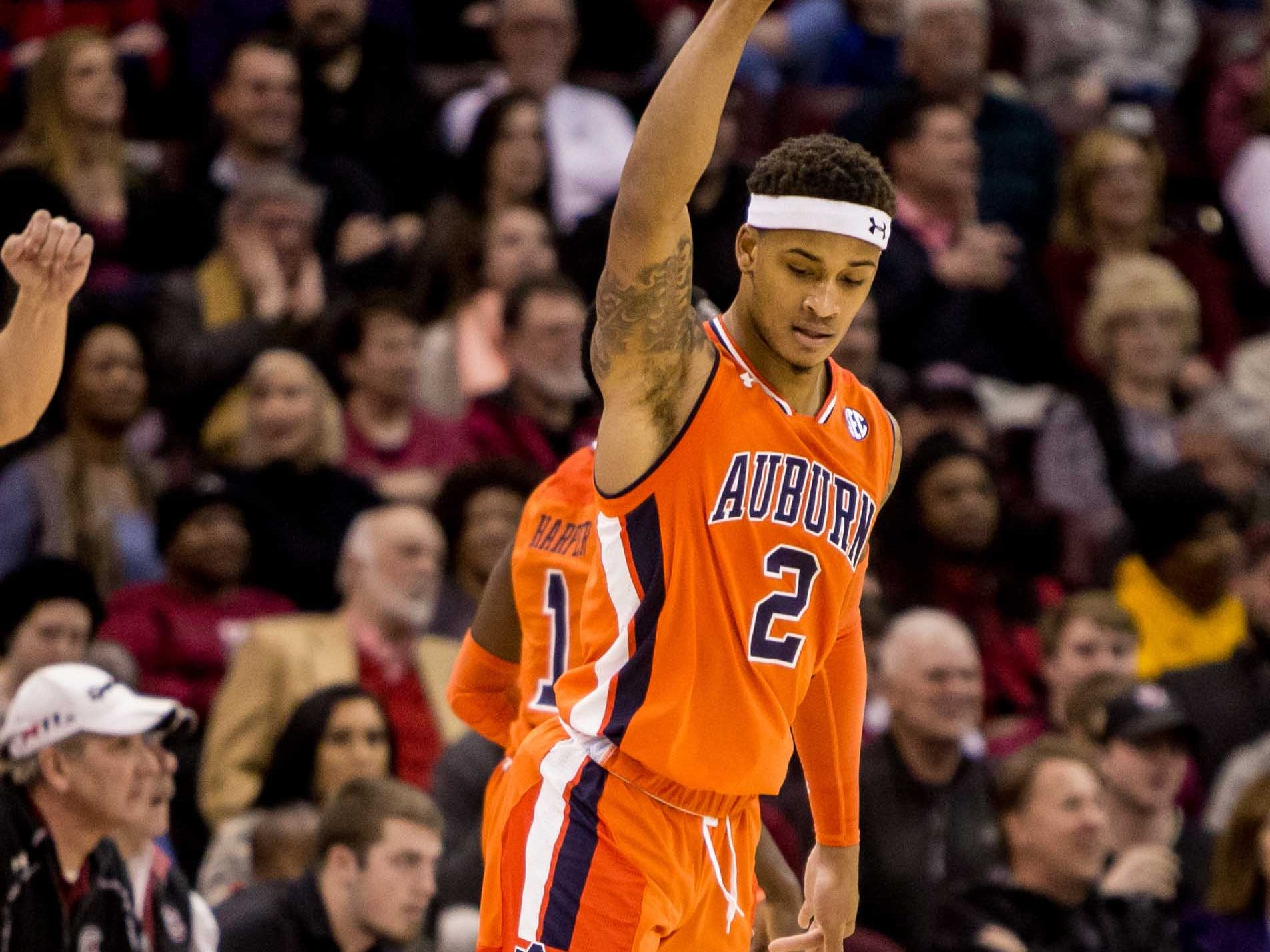 Jan 22, 2019; Columbia, SC, USA; Auburn Tigers guard Bryce Brown (2) celebrates a three pointer against the South Carolina Gamecocks in the first half at Colonial Life Arena. Mandatory Credit: Jeff Blake-USA TODAY Sports