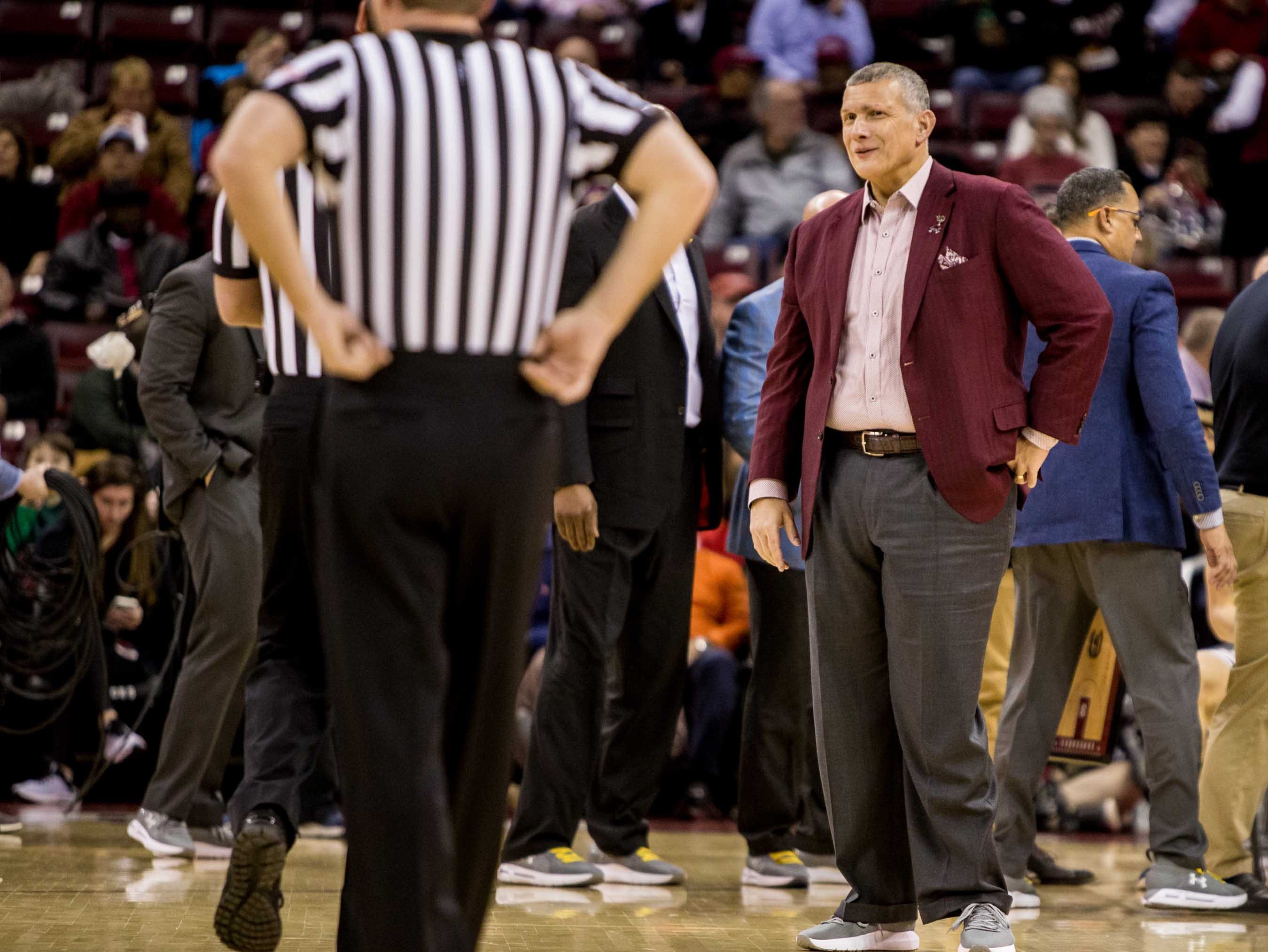Jan 22, 2019; Columbia, SC, USA; South Carolina Gamecocks head coach Frank Martin disputes a call against the Auburn Tigers in the first half at Colonial Life Arena. Mandatory Credit: Jeff Blake-USA TODAY Sports