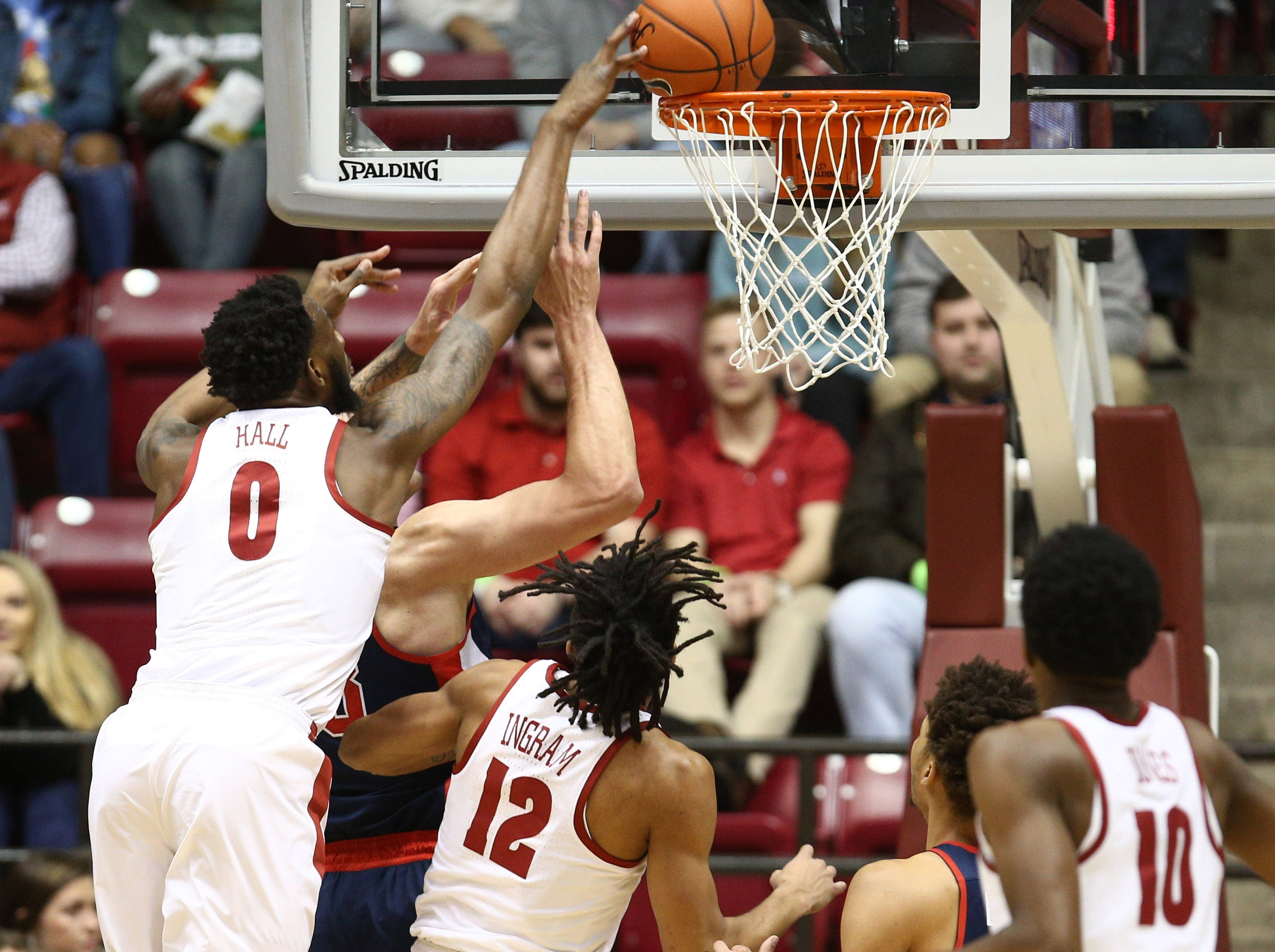 Jan 22, 2019; Tuscaloosa, AL, USA; Alabama Crimson Tide forward Donta Hall (0) goes for the shot over Mississippi Rebels center Dominik Olejniczak (13) during  the first half   at Coleman Coliseum. Mandatory Credit: Marvin Gentry-USA TODAY Sports