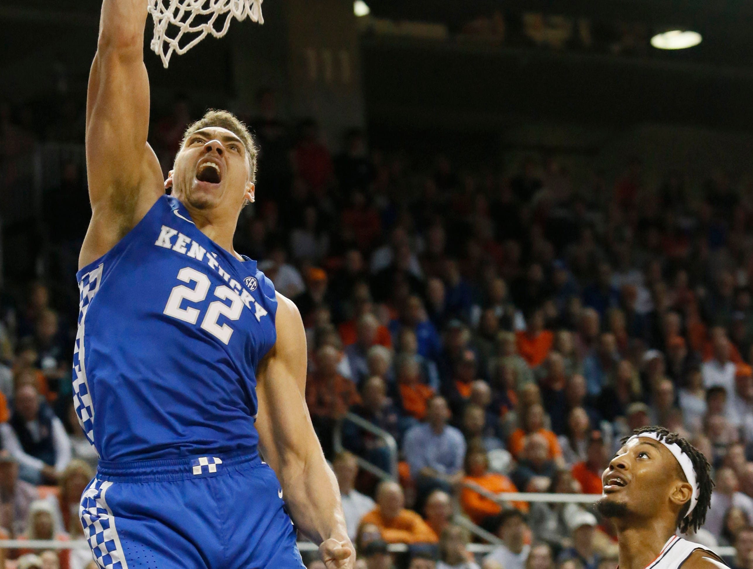 Jan 19, 2019; Auburn, AL, USA; Kentucky Wildcats forward Reid Travis (22) makes a shot against the Auburn Tigers during the first half at Auburn Arena. Mandatory Credit: John Reed-USA TODAY Sports